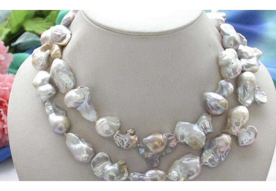 Natural 33 avender KESHI REBORN PEARL NECKLACE & USPS to ISA RUSSIA