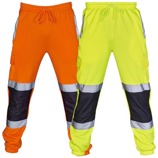 Sweatpants Men Road Work High Visibility Overalls Pocket Work Casual Trouser Hip Hop Streetwear Pantalon Homme 1