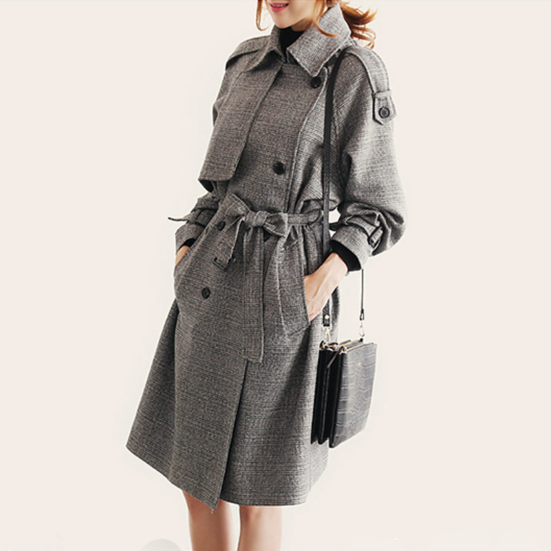 Plaid Trench Coat Women 2019 Spring Korean Middle Long Turn-down double-breasted Casual Slim Trench Coat for Women Clothes