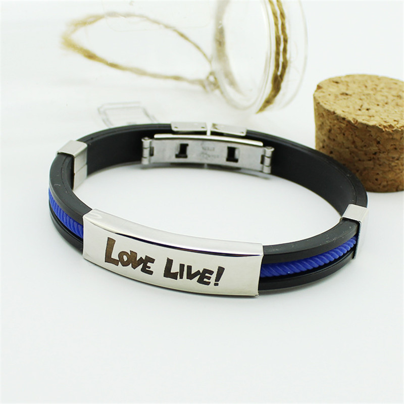 Anime LoveLive Love Live Bracelet Women Candy colored Silicone Titanium Steel Bracelets 1406 in Hologram Bracelets from Jewelry Accessories
