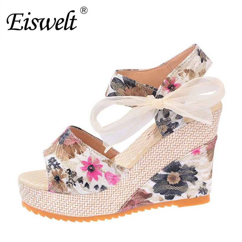Eiswelt 35-40 Fashion Summer Wedges Women's Sandals Platform Lace Belt Bow Flip Flops Open Toe High-heeled  Women Shoes#EDZW16 fashion sandals summer wedges women s sandals platform lace belt bow flip flops open toe high heeled women shoes female 9909w