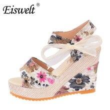 Eiswelt 35-40 mode cales d'été femmes sandales plate-forme de dentelle ceinture arc flip flops bout ouvert haute-à talons hauts femmes chaussures # edzw16