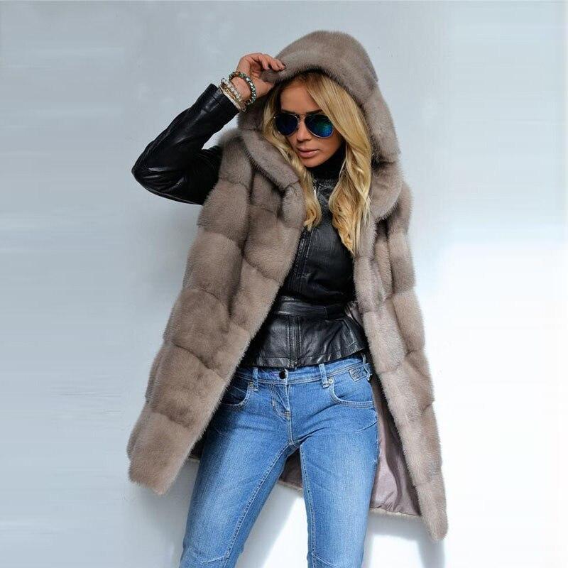 Réel vison fourrure gilet hiver veste avec capuche 2019 nouvelle peau entière solide mince véritable fourrure survêtement Long manteau femmes sans manches 12.28
