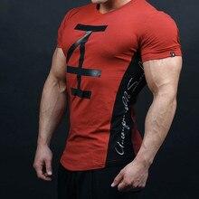 New font b Mens b font summer fitness Bodybuilding t shirt gyms font b workout b
