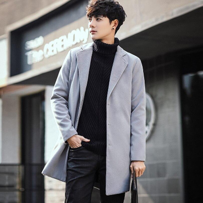 8 Colors New 2020 Mens Woolen Coat Korean Fashion Winter Coat Long Wool Jacket Cashmere Single Breasted Men Overcoat Wool Blends Aliexpress