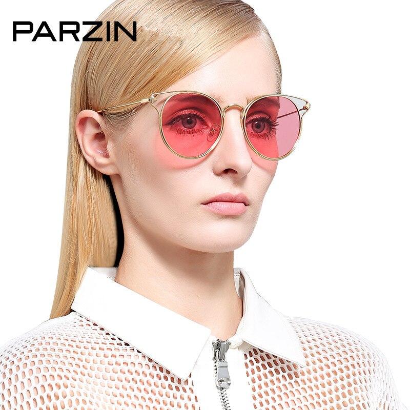 Bunte Weibliche Polarisierte Parzin sliver Red Blue Yellow Sonnenbrille Mit Rahmen Metall Shades Fall Vintage 8117 Gläser Purple Driving Gold sliver Damen gold q4t4Exwnrd