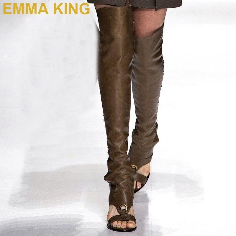 Пикантные женские босоножки выше колена на высоком каблуке; женские летние сапоги с вырезом сзади; римские сандалии; сандалии гладиаторы на квадратном каблуке; женская обувь - 2