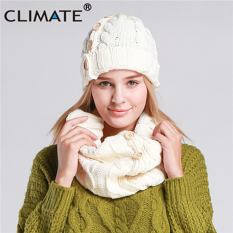 CLIMATE Women Fashion Warm Set Collar Hat Sets Winter Female Women Lady Beanie Thick Bonnet Collar Set Women Comfortable Collar