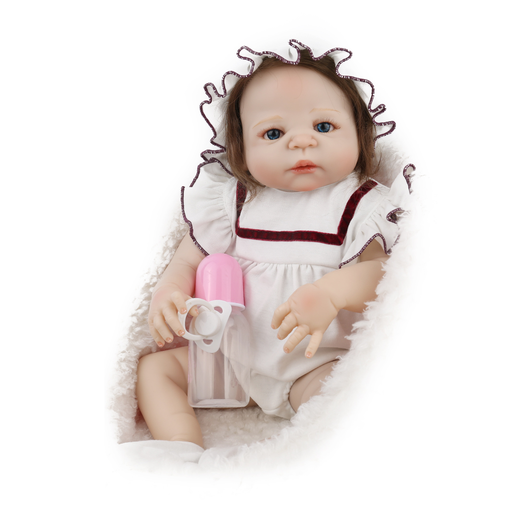 NPKDOLL Full Body Silicone  Reborn Doll baby  22 inch 55cm For Girls  White Clothes Children Playmate dollhouse vinyl  doll NPKDOLL Full Body Silicone  Reborn Doll baby  22 inch 55cm For Girls  White Clothes Children Playmate dollhouse vinyl  doll
