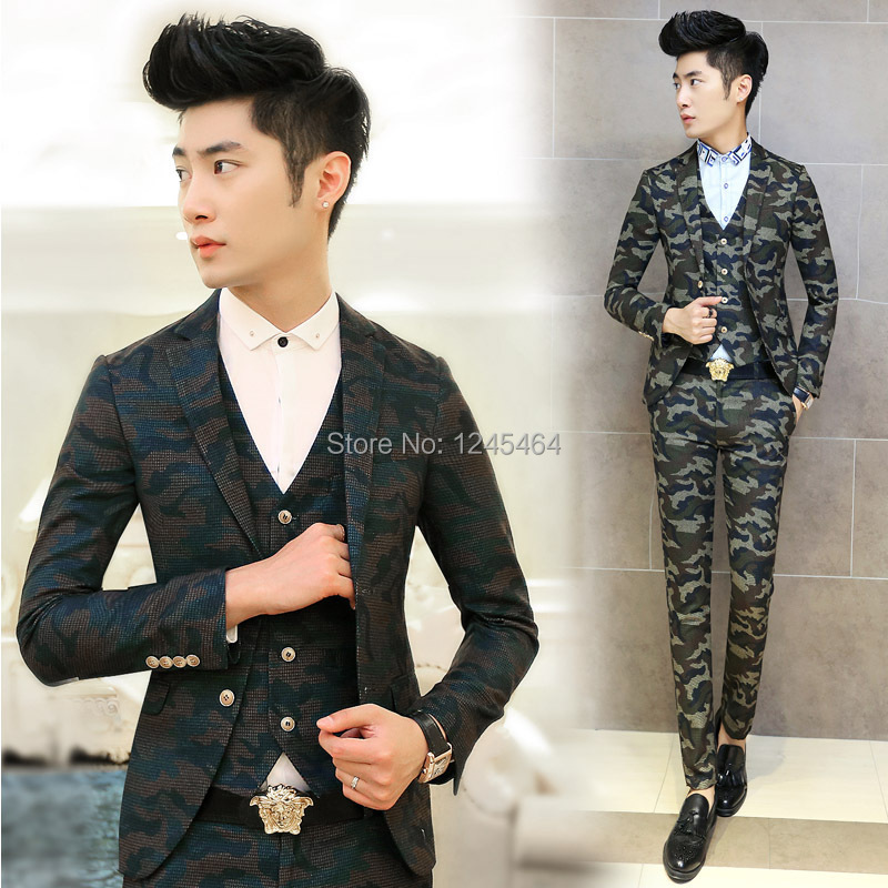 Blazer Pant Vest 2014 New Men Suit Slim Custom Fit Tuxedo Brand Fashion Bridegroon Camouflage Set Wedding Dress Suits In From Mens Clothing