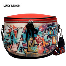 Luxy Moon Street Hip-Hop Style Color Matching Print Characters Summer New Women's Bag Gorgeous Slanting Shoulder Bag Shoulder