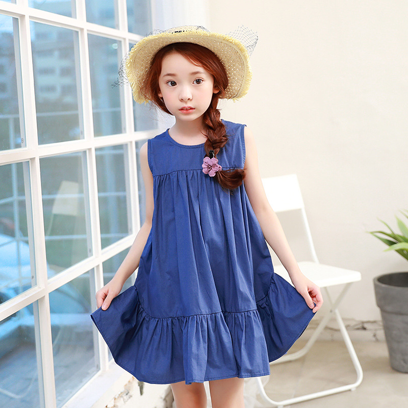 цены loose cotton little big girl dress children 2017 new ruffles sleeveless princess dress kids clothes spring summer blue sundress