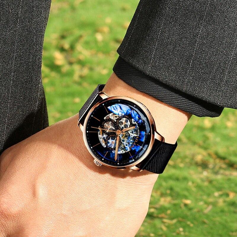 2018 neue reloj AILANG luxus männer mechanische automatische uhr Schweizer getriebe armbanduhr modische freizeit diesel uhr leder-in Mechanische Uhren aus Uhren bei  Gruppe 3