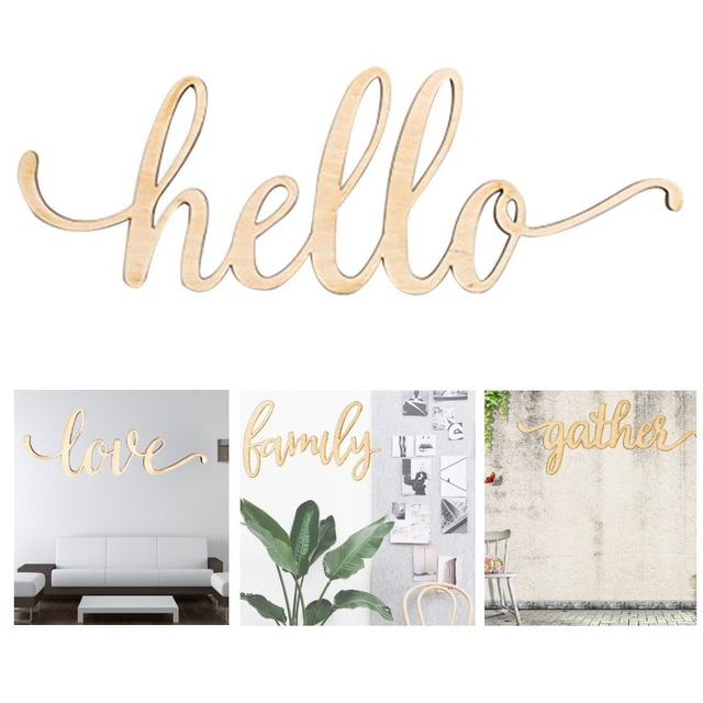 Us 996 27 Offlove Hello Family Script Word Wood Sign Wooden Words Sign Art Rustic Cursive Room Decoration Wall Hanging Laser Cut Unfinished In