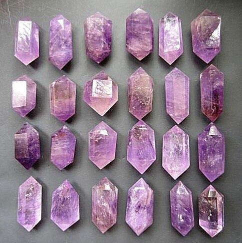 24 pcs Natuurlijke quartz crystal amethyst dual end toverstaf genezing. Huwelijkscadeau. Diamant schilderen