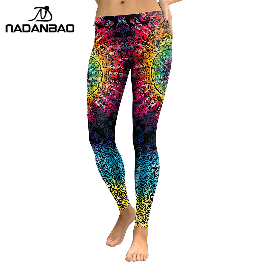 NADANBAO Women Leggings Mandala Flower 3D Printed Patchwork Color Fitness Leggins Slim High Waist Elastic Trousers Pants Legins