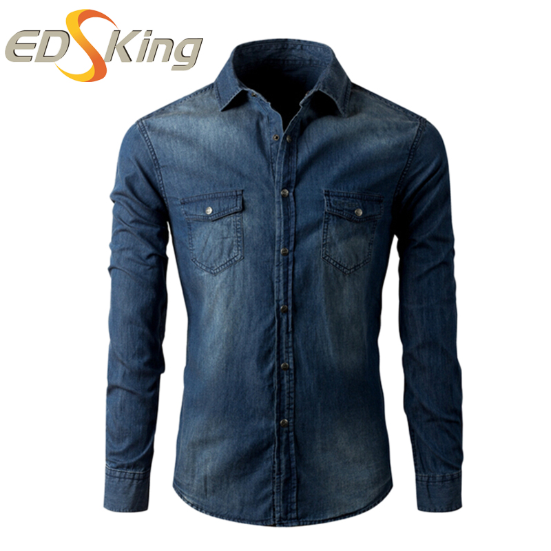 New 2017 Denim Shirt Men Jeans Slim Fit Long Sleeve Social