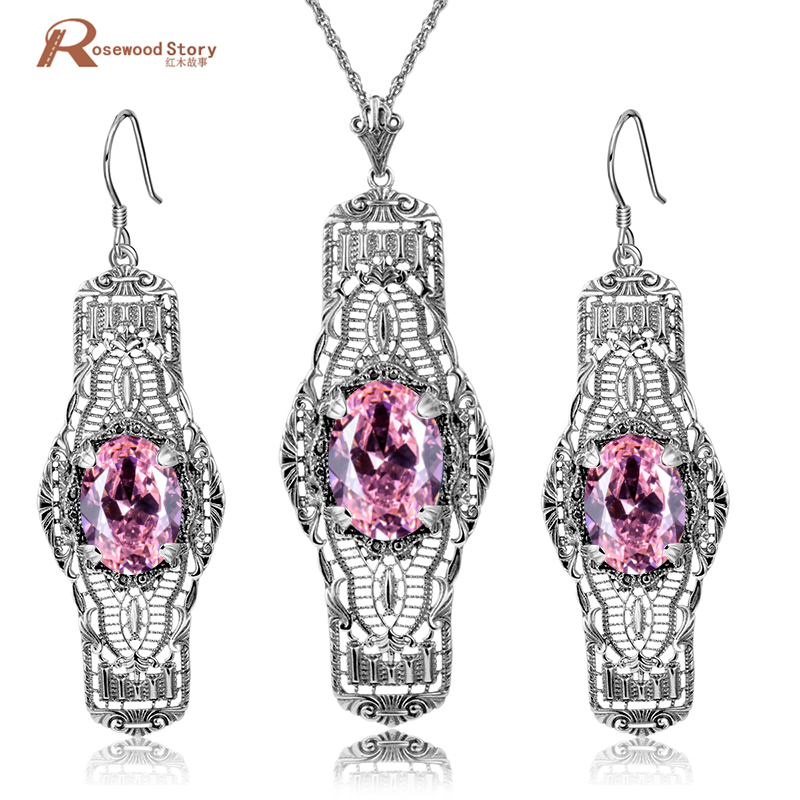 Vintage Charms Cute Pink Stone Cubic Zirconia CZ Real 925 Sterling Silver Jewelry Sets For Women Earrings/Pendant Free Gifts BoxVintage Charms Cute Pink Stone Cubic Zirconia CZ Real 925 Sterling Silver Jewelry Sets For Women Earrings/Pendant Free Gifts Box