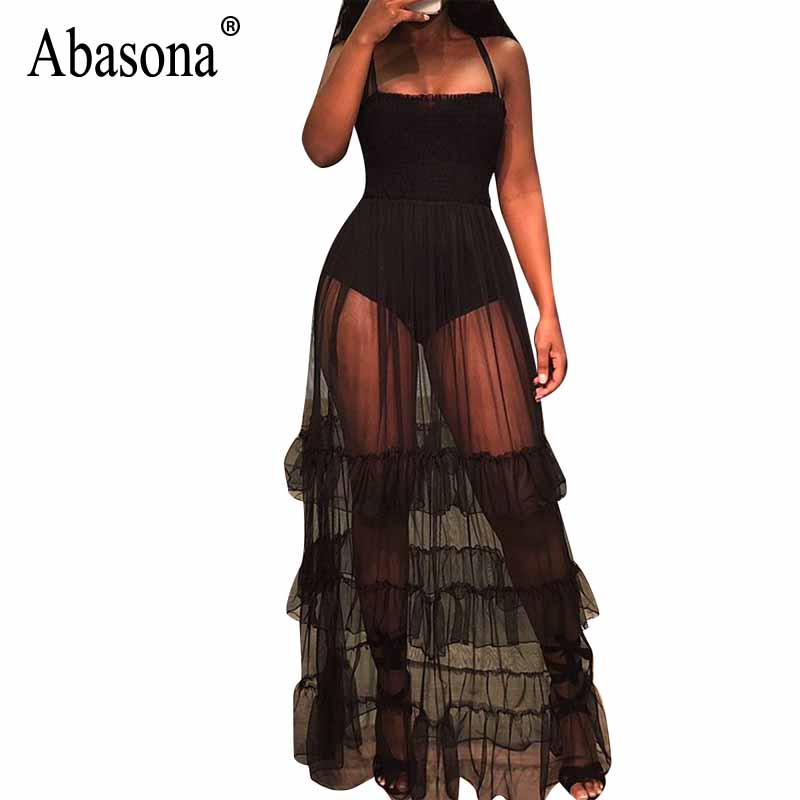 Abasona 2019 Women Summer Black & White Floral Lace See Though Sexy Boho Beach Dress Tassel Hem Sleeveless Club Cloak Dresses Sale Price Women's Clothing
