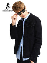 37dd05ce777 Pioneer Camp new solid black jeans jacket men brand-clothing casual denim  coat male top quality stretch outerwear AJK705316