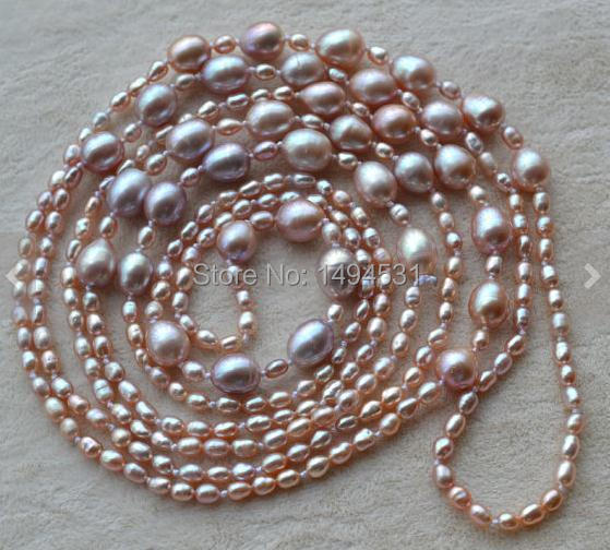 Wholesale Pearl Jewelry - 58 Inches Long Lavender Color 3-8mm Genuine Freshwater Pearl Necklace , Fashion Lady's Jewelry.