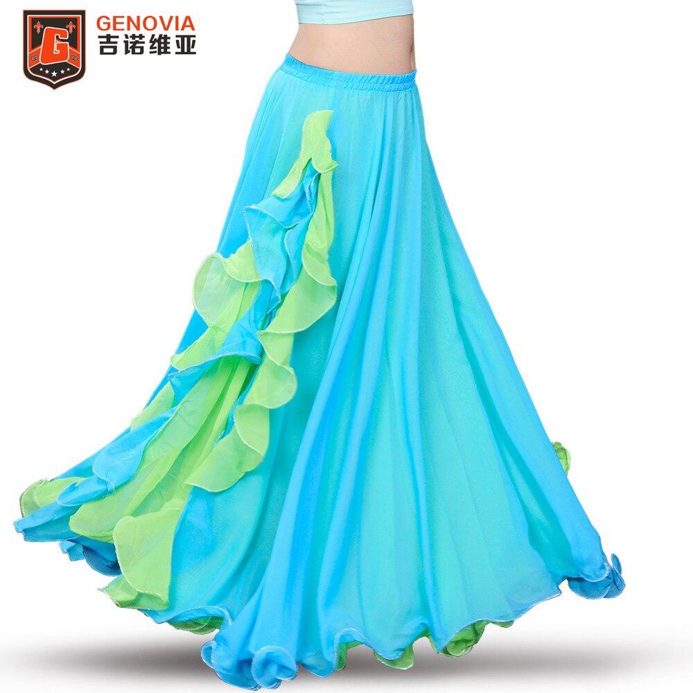 2018 Professional Belly Dance Costume Waves Skirt DressWomen Oriental Belly Dance Skirt 7 Colour New Arrival