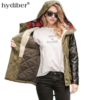 Hydiber Winter new 2018 women long sleeve cotton dress army green thick coat street fashion have hats pull even jacket XXL