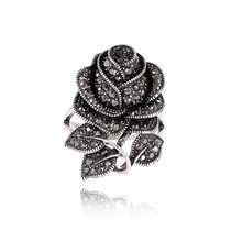 Fashion Vintage Jewelry Antique Silver Plated Retro Crystal Big Rose Flower Ring For Women