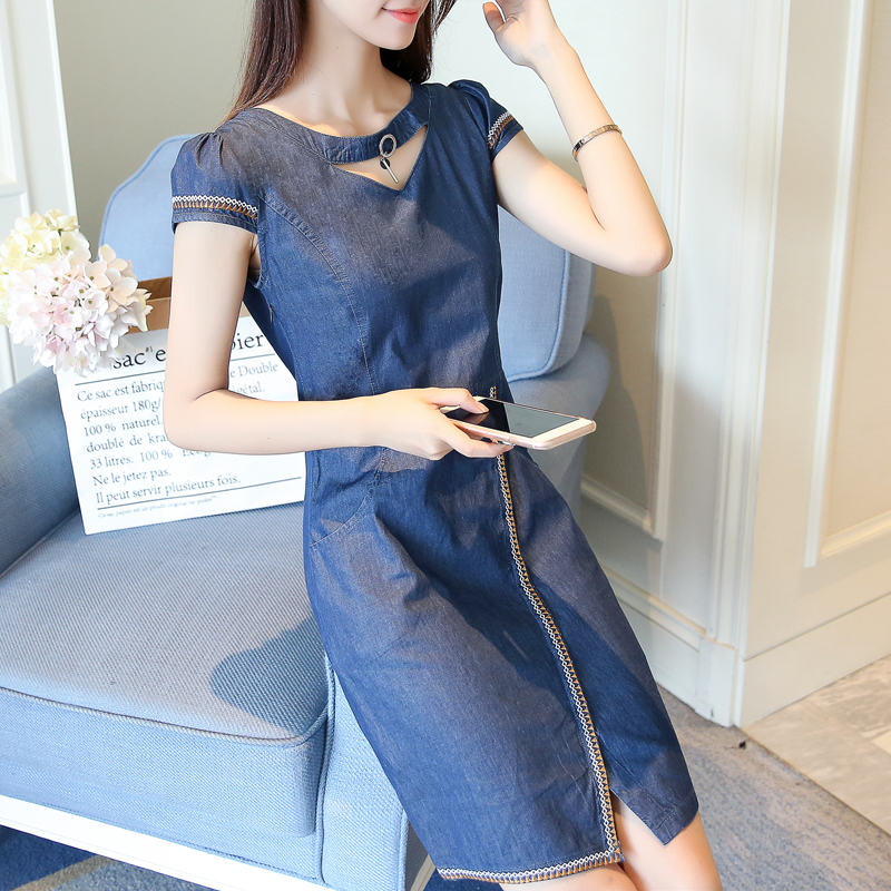 2018 new arrival summer women denim dresses short sleeves loose plus sizes round neck solid denim dresses 323
