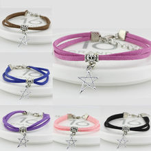 Drop shipping 12 colors Silver Alloy star Korean velvet Bracelets for Women&Men Friendship High Quality Multilayer Leather(China)