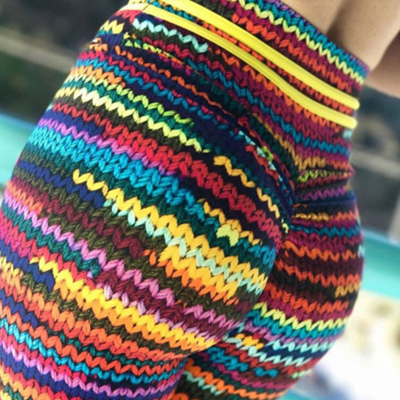 2019 New Knit Printing Leggings Knit Colorful String Pants Sports Fitness Leggings