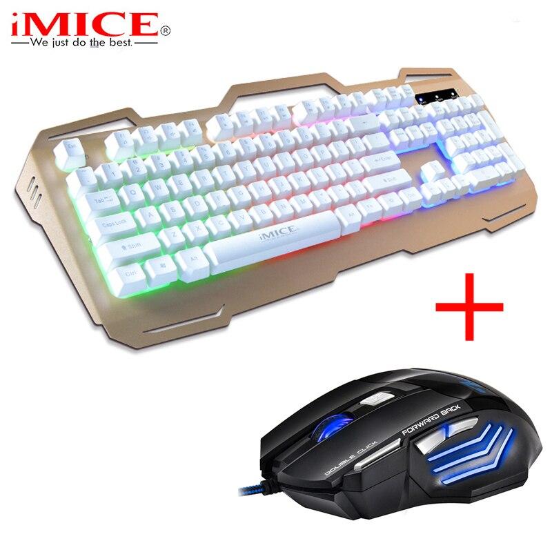 Clavier de jeu filaire iMice 104 touches rétro-éclairé Teclado + 7 boutons 5500 DPI LED souris de jeu optique souris pour PC ordinateur de bureau