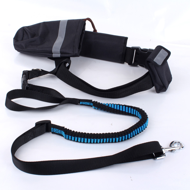 Hands Free Pet Dog Leash Running Jogging 1.9-2.5M Long Elastic Adjustable Dog lead Rope With Waist Bag Dog Cat Sport Waist Belt