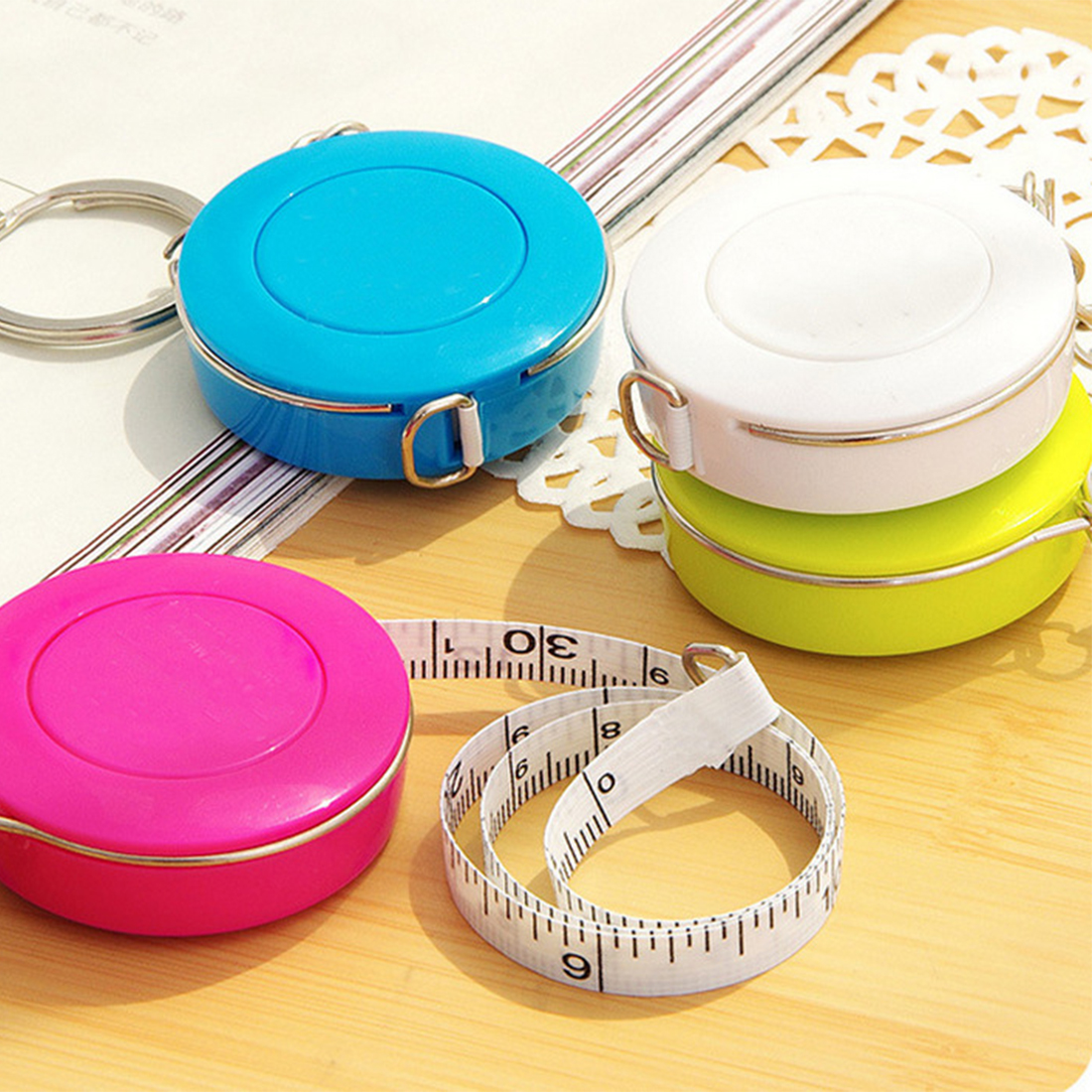 Mini Portable Tape Measure 1.5m Retractable Ruler Centimeter/inch Small Tape Measure Ruler Candy Color Cute Design For Travel