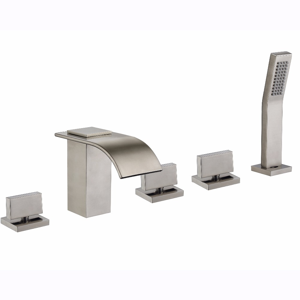 5 Hole Deck Mount Tub Faucet With Hand Shower.Us 208 39 9 Off Free Shipping Widespread 5 Hole Waterfall Roman Tub Filler Faucet Hand Shower Brushed Nickel Deck Mounted In Shower Faucets From