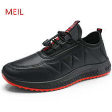 2019 Black Loafers Men Casual Leather Shoes Sneakers PU Male Breathable Fashion Outdoor Luxury Trainers