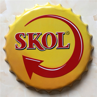 SKOL Large Beer Cover Tin Sign Logo Plaque Vintage Metal Painting Wall Sticker Iron Sign Bar KTV Store Decorative 40X40 CM