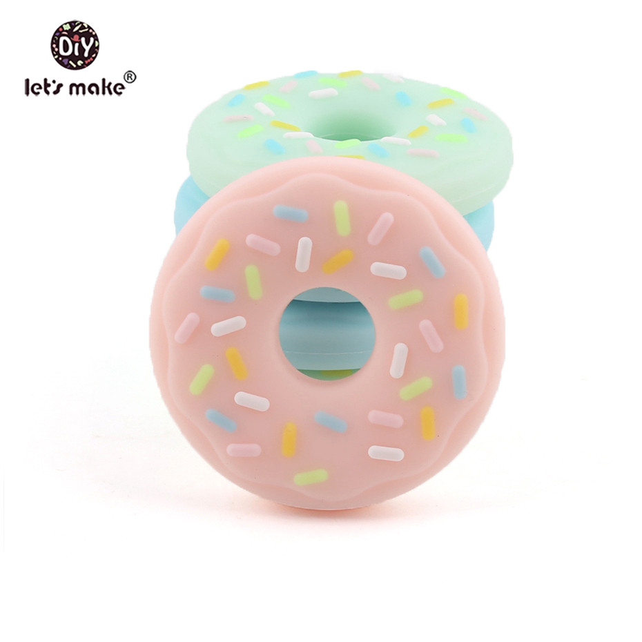 Let's Make Baby Silicone Teethers BPA Free Food Grade 1PC Dessert Donut Cookie DIY Pacifier Chain Accessories Beads Teething
