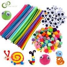 קטיפה מקל/Pompoms קשת צבעים Shilly מקל חינוכי DIY צעצועים בעבודת יד אמנות קרפט יצירתיות Devoloping צעצועי GYH