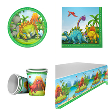 NEW Dinosaur 20pcs napkins+20pcs cups+20pcs plates+1pcs tablecover for KIDS birthday party decoration supplies 20people use