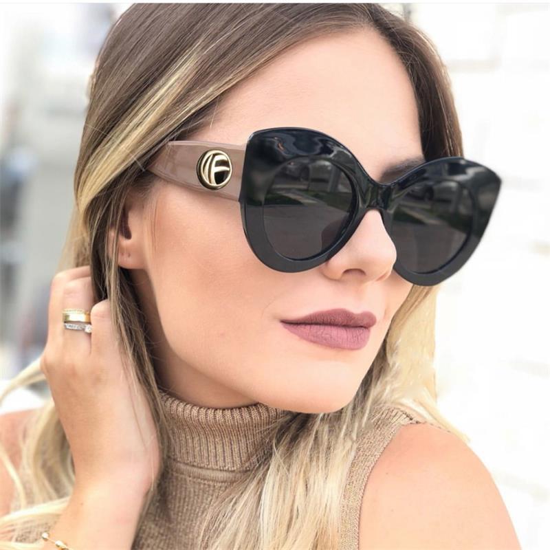 Black Cat Eye Sunglasses high quality women fashion 2018 oversized frame Khaki legs designer sunglasses female hipster sunnies khaki