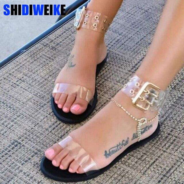 Appartamenti delle donne sandali gladiatore di estate trasparente open toe scarpe gelatina delle signore vintage romano fibbia della cinghia sandali da spiaggia grande formato