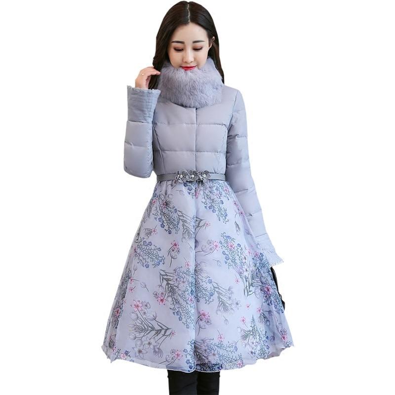 Sweet Elegant Print Organza Cloak Thick Padded   Parka   Winter Jacket Women Faux Fur Warm Cotton Wadded Winter Coat Manteau TT3587