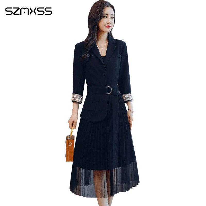 2018 autumn new Korean women dresses simple self cultivation wild trend dress suit collar stitching long