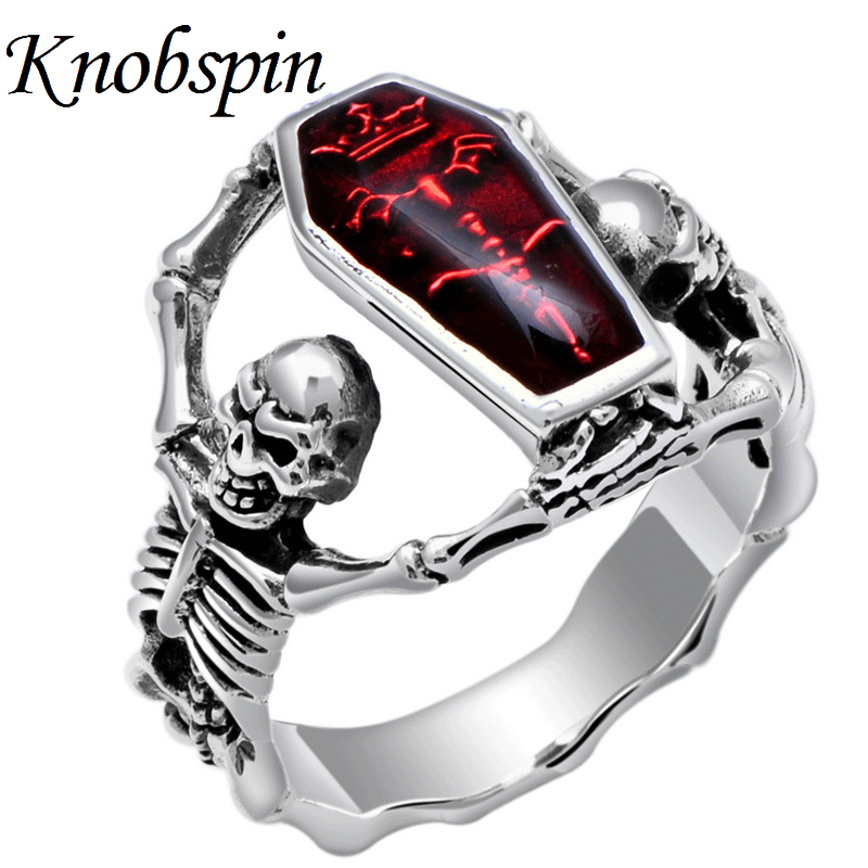 2018 Hot Sale Vintage Silver Color Vampire Bat Skull Ring Punk Rock Style Mens Finger Ring Motorbiker Jewelry anel masculino