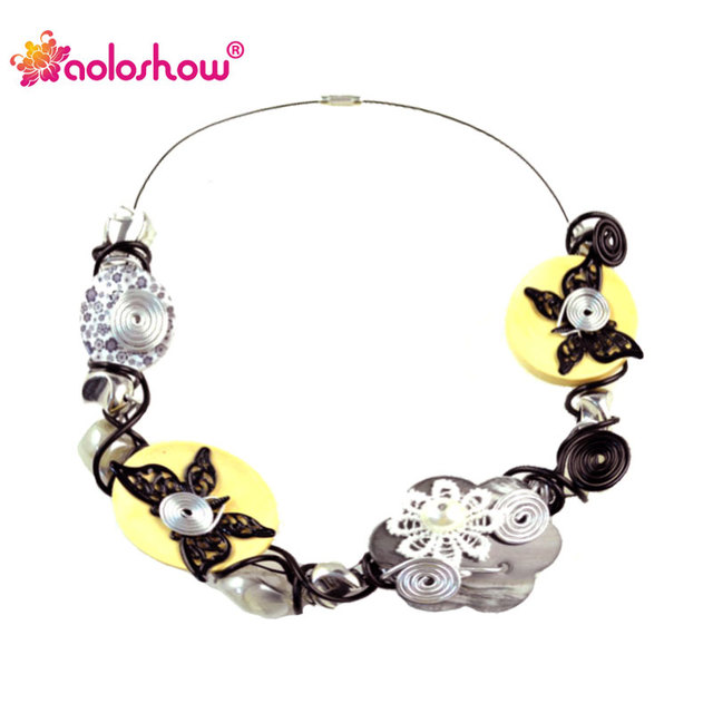 AOLOSHOW Fashion Choker Necklace Women Wood Butterfly Floral Handmade Wire Collars Choker Necklaces Collier Femme Nl-1307