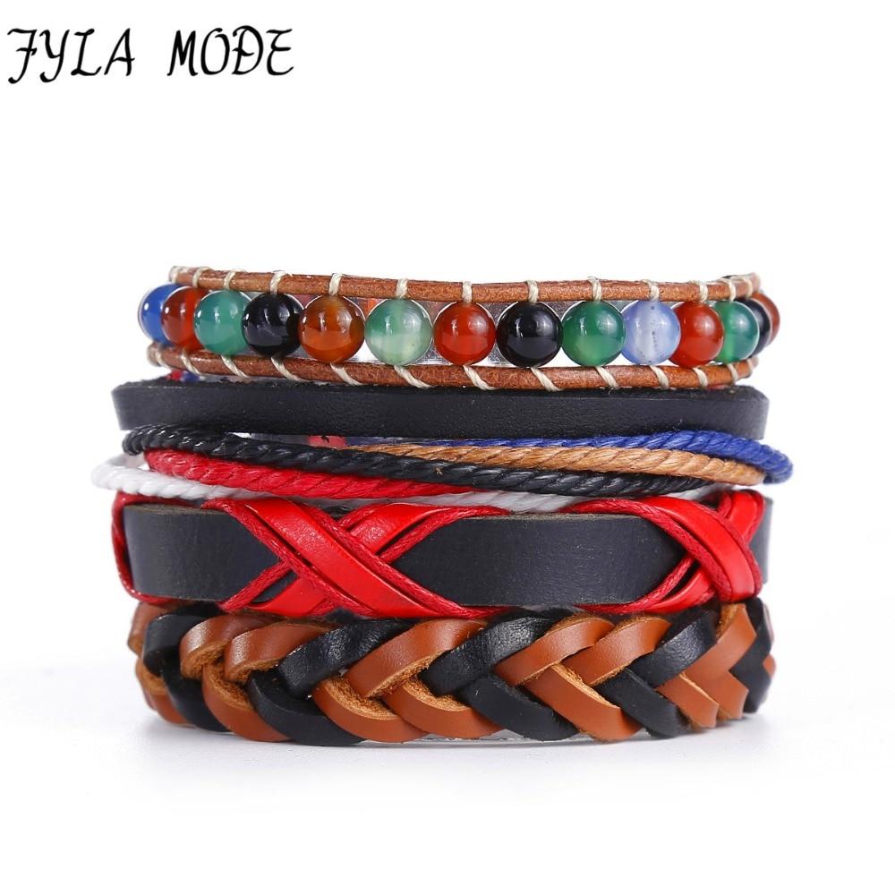4Pcs/lot Unique Design Punk style Fashion Braided Woven Leather Bracelet For Women Natural Stone Charm Jewelry Factory Wholesale