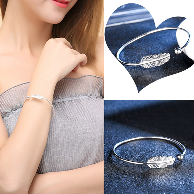 Adjustable Angel Feather Open Cuff Bracelets Bangles for Women Simple Exquisite Jewelry @M23