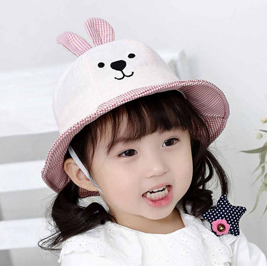 8e99f63eaab Kids Bucket Hat Outdoor Fisherman Hats 2019 Spring Child Baby Cartoon Bear  Ear Cap Plaid Brim