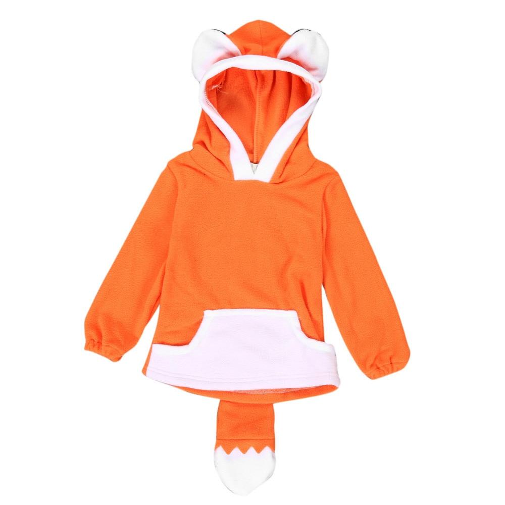 KLV 2017 Child Cartoon Design Fox Baby Hooded Boy Girl Jacket Outwear Coats Kids Clothing